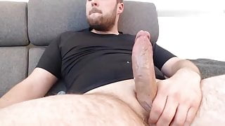 Beard daddy jerks off big cock and cumshots big loads