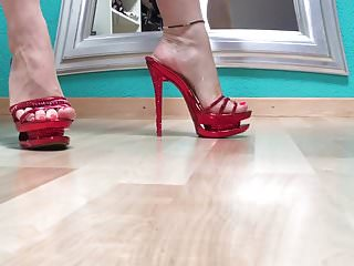 Sexy high heel fetish Walk in red sexy high heel mules
