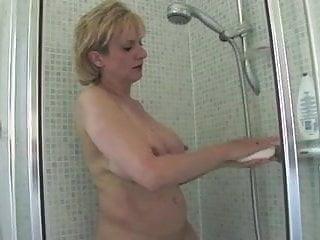 Beatuful naked woman taking shower masturbating - Mature woman taking shower