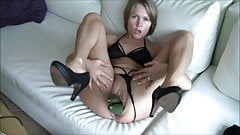 Worthless dumb German blonde cunt cucumber in pussy and ass