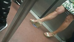 Candid hot mature with sexy legs in wedges heels