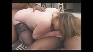 Blonde BBW-Milf in hard Interracial by two BBC