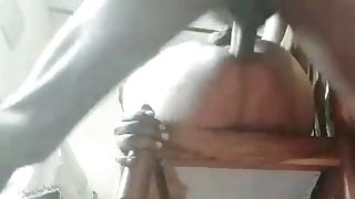My servant fucks me hard with big dick in a chair