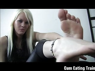 Eat my cum off her tits - Eat your own cum off my feet cei