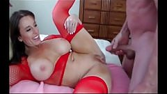 Check My MILF in sexy red fishnet stockings and lingerie