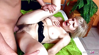 73yr old Grandma with extremely Hairy Pussy Fuck by Young Boy