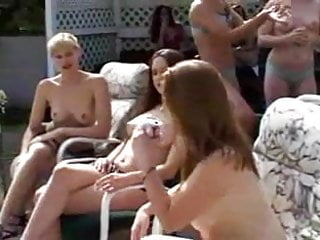Hot lesbians sleep over - One lucky lesbian gets squirted all over at a party...f70