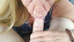 My new hot granny sucking in car