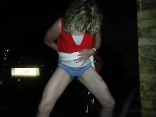 Galitsin pantie pissing Peeing in the car park wetting pantie knickers