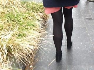 Beautiful female orgasm Beautiful female banker in black nylons and short skirt