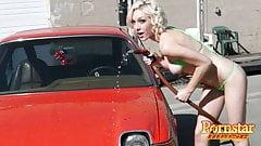 Carwash Blonde Pornstar Lily Labeau