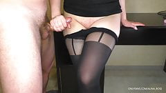 Teen Step Sister shows Pussy and Handjob on her Pantyhose