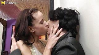 Sexy girl fucks mature lesbian step mom