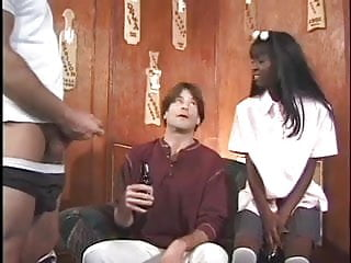 Couples giving handjobs - Black beauty gives a couple white boys a creamy surprise