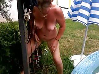 Sexy wife in garden Wife p in garden