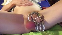 dirty ball spanking by whip in penis cage