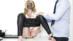 footjob in the office, guy cums on the legs of the secretary