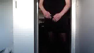 cumming in little black dress