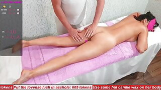 Massage Rooms – Gorgeous British ebony babe Asia oil soaked