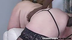 Old cougar has interracial anal