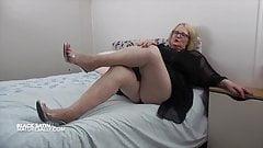 smoking hot step mom Mature Sally in black satin cockold