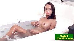Amateur ladyboy wanking off after bathing
