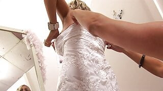 Horny bride and her friend share stud's tool in a shop