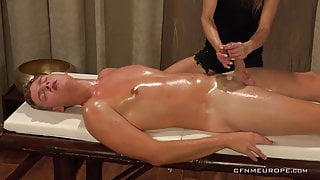 CFNM Oil massage and handjob