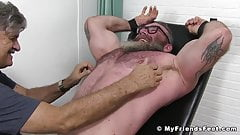 Hunky bearded gay with glasses tied up for tickling torment