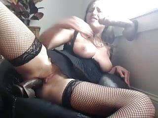 Girl fucking in heels Babe in lingerie fucks herself in pussy and ass