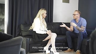 Interview for a secretary. She deserved this JOB