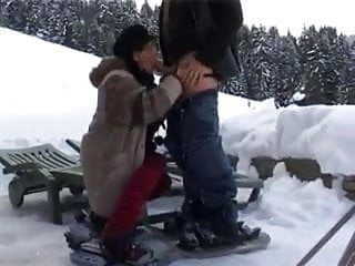 Attractive milf - Slim attractive milf anal fucked in the snow