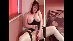 Full body MILF in white stockings playing with her shaved