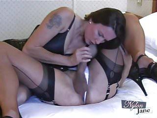 Men suck tgirls Nylon jane sucks amazing big cock before fuckin tgirl ass