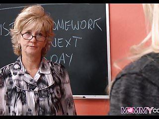 Hot blonde teacher nude Hot blonde teacher shows student how to suck cock
