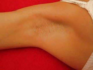 Mens hairy armpit - Girl in white bra feeling her hairy armpit