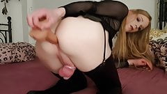 Sissy Sub playing with Dildos