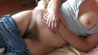 HAIRY MOTHER, SHE STARTS TO GET EXCITED AND MASTURBATES
