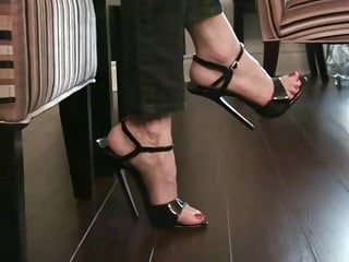 6 inch erect penis - Bending and tapping a 6 inch stilettos black sandals