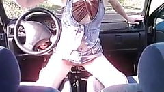 Skinny amateur babe with gearshift and cock