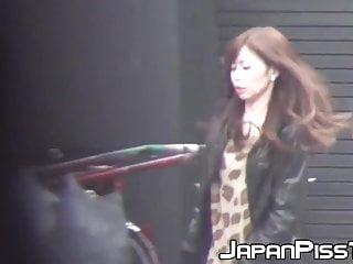 Hot chicks peeing outdoors - Sexy japanese chicks peeing one by one in a public bathroom