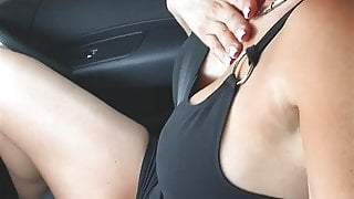 Haha, while he has to drive, I finger my tight pussy