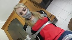 Girl Wrap Gagged in Duct Tape Bondage