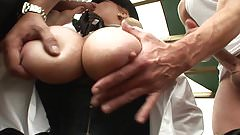 Randy blonde babe rides two big cocks in threesome