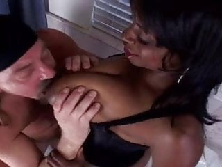 Black cum tits and face Busty ebony chick takes it up the ass cum on her face
