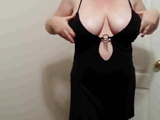 Ginger 38h boobs - 38h tits lateshay - slut in black mini