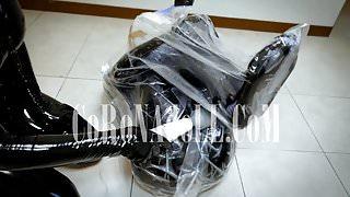 Vacuum Bag Bondage Breath Paly rubber leather