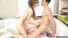 Nerdy teen Elena takes a cock