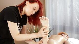 Felenk Roka enjoys legs and feet massaged