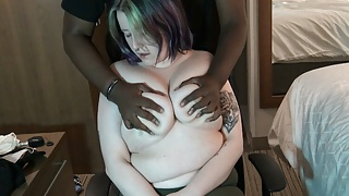 Busty girl enjoys breast massage, squeeze and nipple play